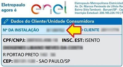 3bbd35a49 Número da instalação – Enel São Paulo (antiga Eletropaulo)