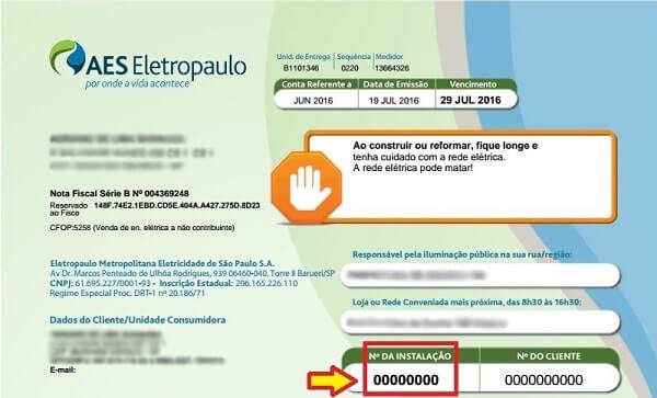 b1af6bbb7 Número da instalação elétrica – AES Eletropaulo